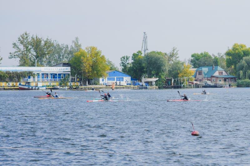 赫尔松,乌克兰, 9月30,2014竞争划船 体育运动 库存照片