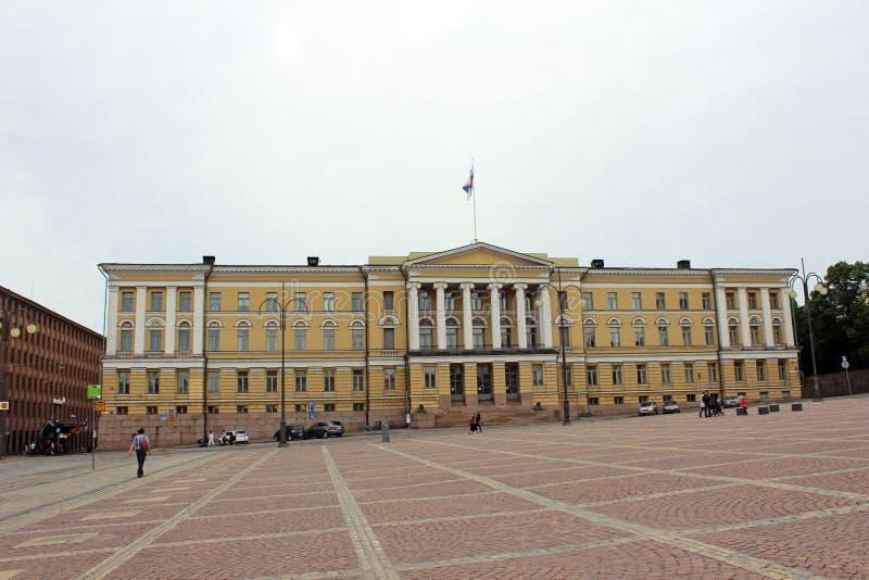 赫尔辛基大学参议院正方形的中央大厦 库存图片