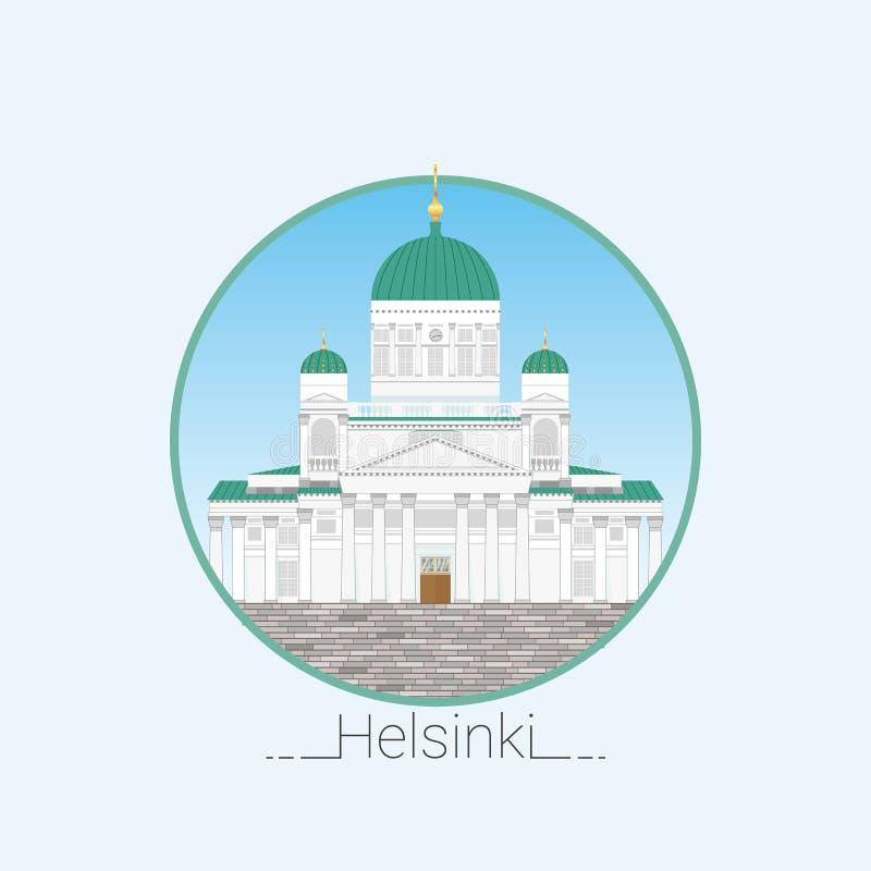 赫尔辛基大教堂详细的传染媒介例证 平的样式 赫尔辛基的标志 芬兰 旅行社的象 库存例证