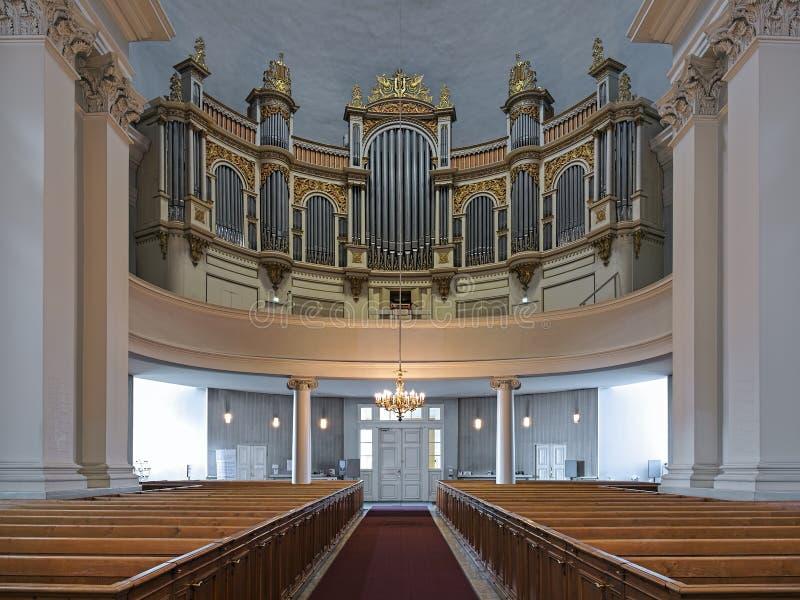 赫尔辛基大教堂,芬兰主要器官  库存图片