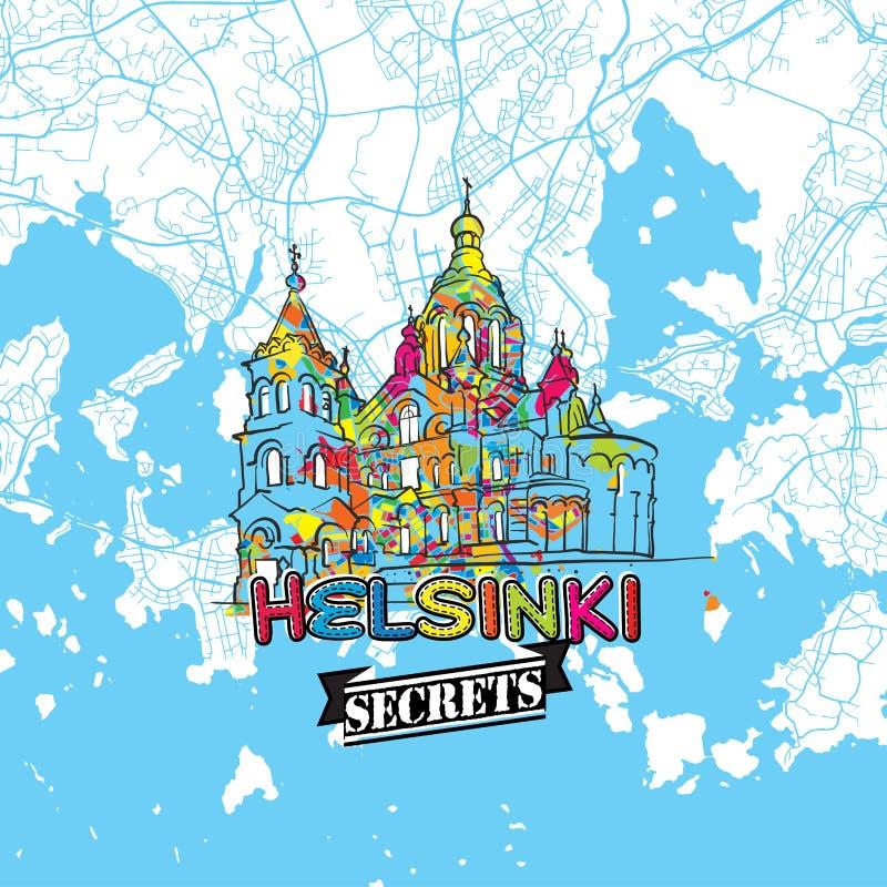 赫尔辛基旅行秘密艺术地图 库存例证