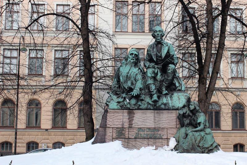 赫尔辛基,芬兰,2012年3月 对芬兰英勇史诗'卡莱瓦拉的'创作者的纪念碑 免版税库存照片