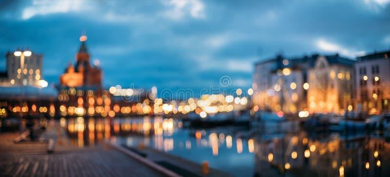 赫尔辛基,芬兰 摘要被弄脏的Bokeh都市全景背景 免版税库存图片