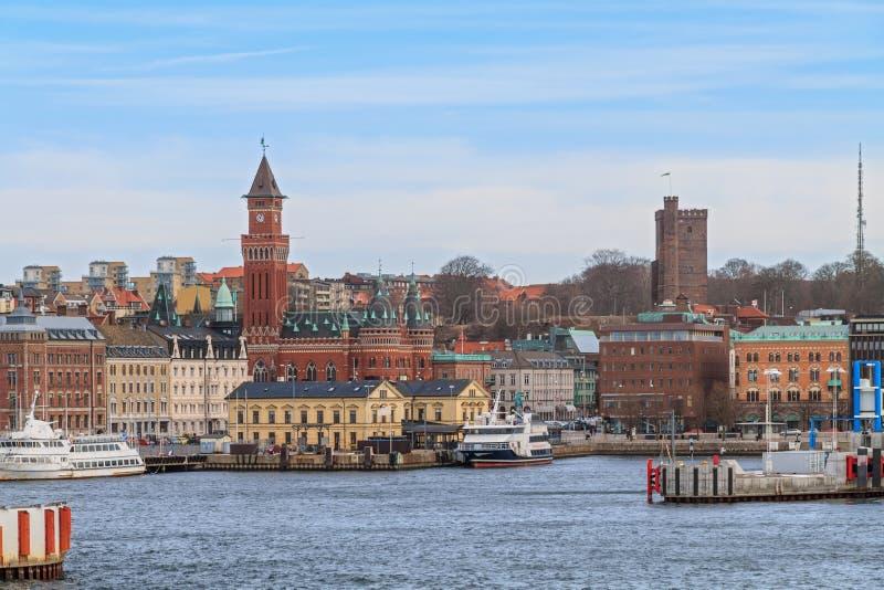 赫尔辛堡港  图库摄影
