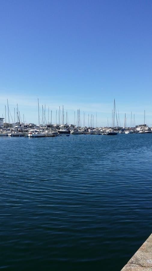 赫尔辛堡的小游艇船坞 库存照片
