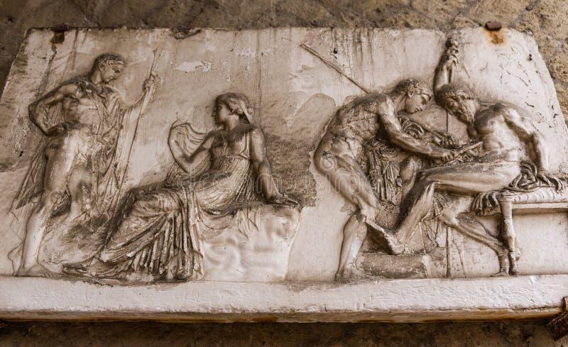 赫库兰尼姆拉丁匾 库存照片