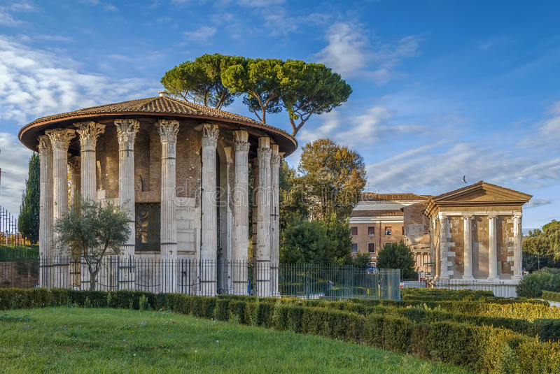 赫拉克勒斯胜者,罗马寺庙  库存照片