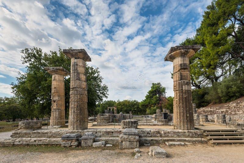 赫拉,奥林匹亚寺庙  库存照片