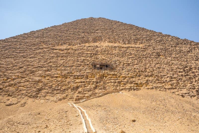 代赫舒尔红色金字塔在吉萨棉,埃及 免版税库存照片