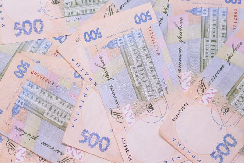 赫里夫尼亚UAH乌克兰钞票 500乌克兰全国financies背景 库存照片