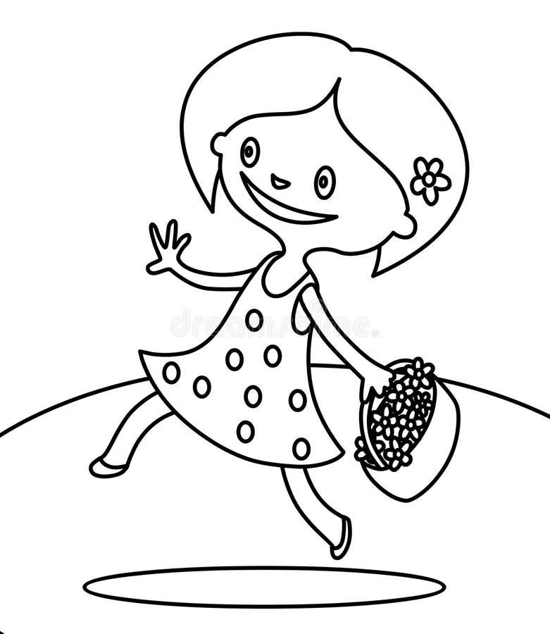 走与上色页的花花束的逗人喜爱的女孩  向量例证