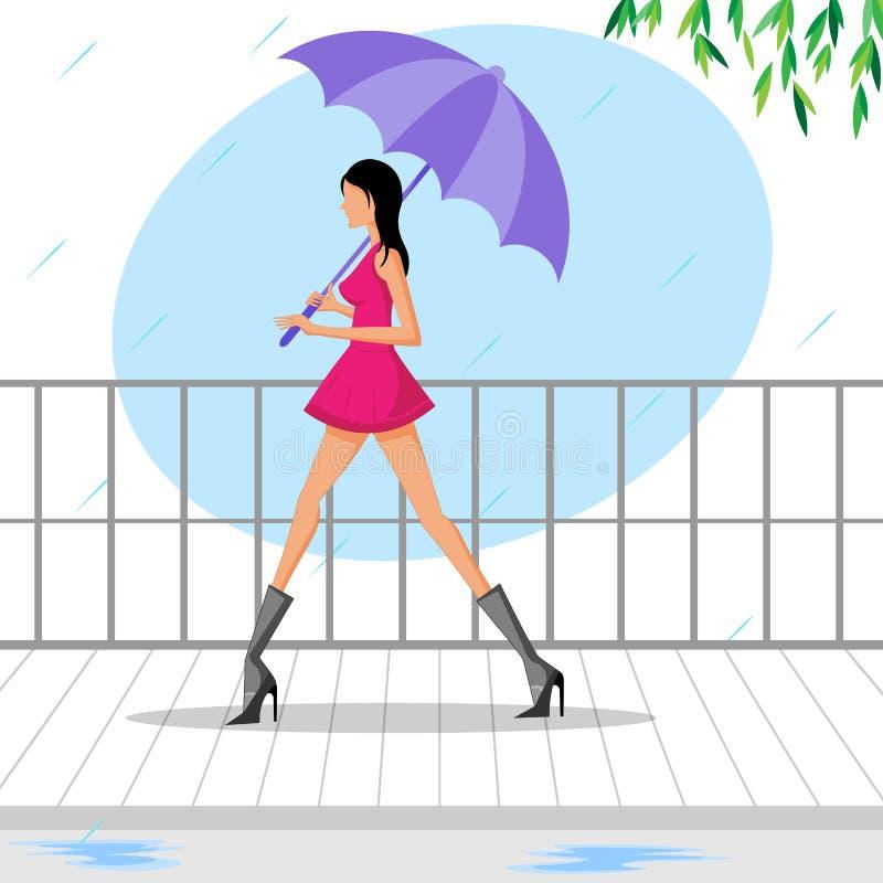 走与伞的美丽的妇女在雨中 库存例证
