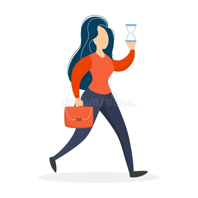 走与公文包和拿着滴漏的妇女 向量例证