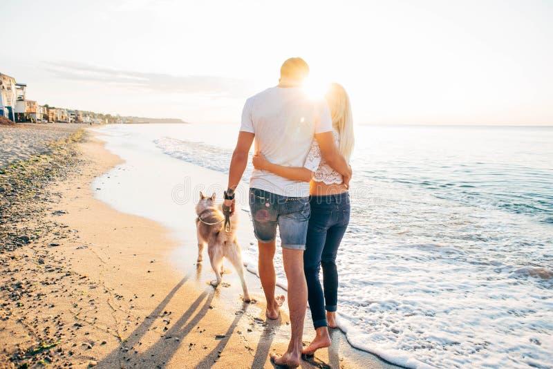 走与在海滩的狗的夫妇 免版税库存照片