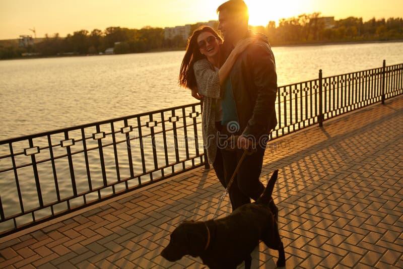 走与在街道上的狗的愉快的年轻夫妇 库存图片