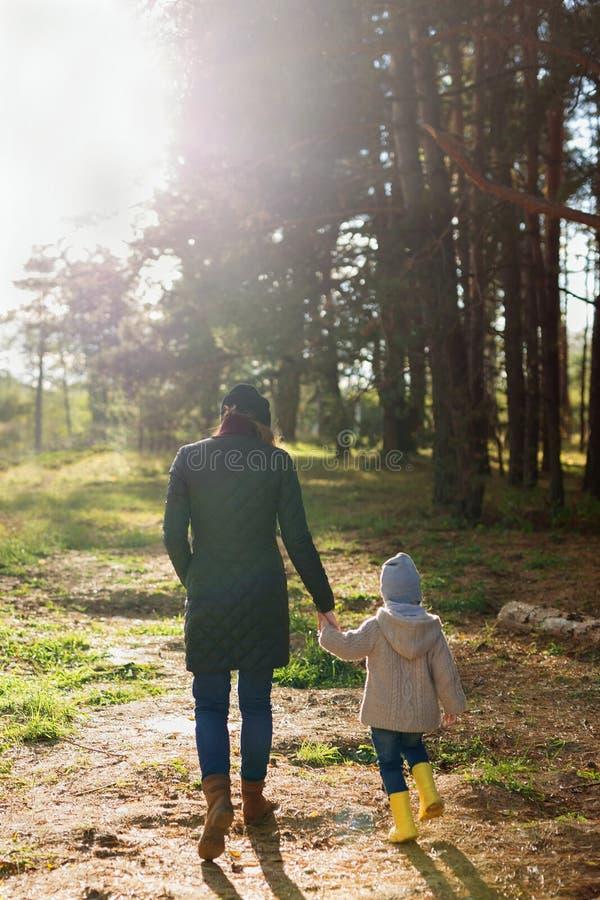 走与她的孩子的年轻母亲在森林里在一好日子在秋天 库存图片