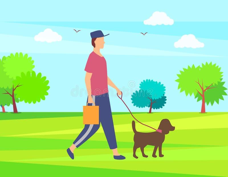 走与宠物、绿园或者森林传染媒介的人 向量例证