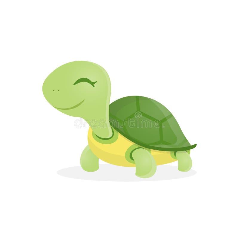 走与微笑,传染媒介例证的愉快的逗人喜爱的乌龟 向量例证