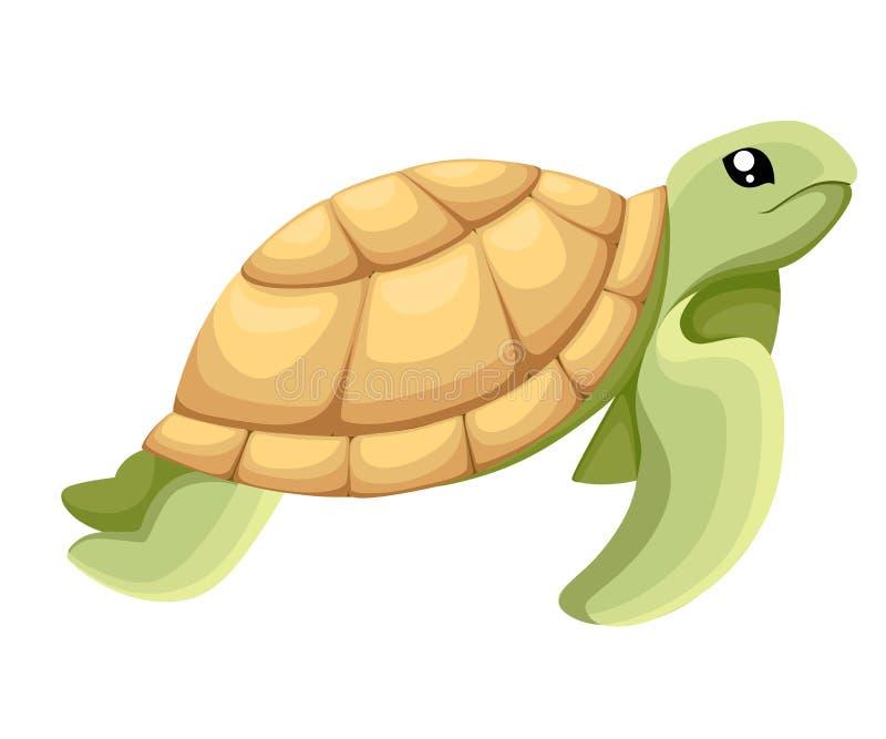 走与微笑,传染媒介动画片例证对象图象例证网站页和流动app de的愉快的逗人喜爱的乌龟 库存例证
