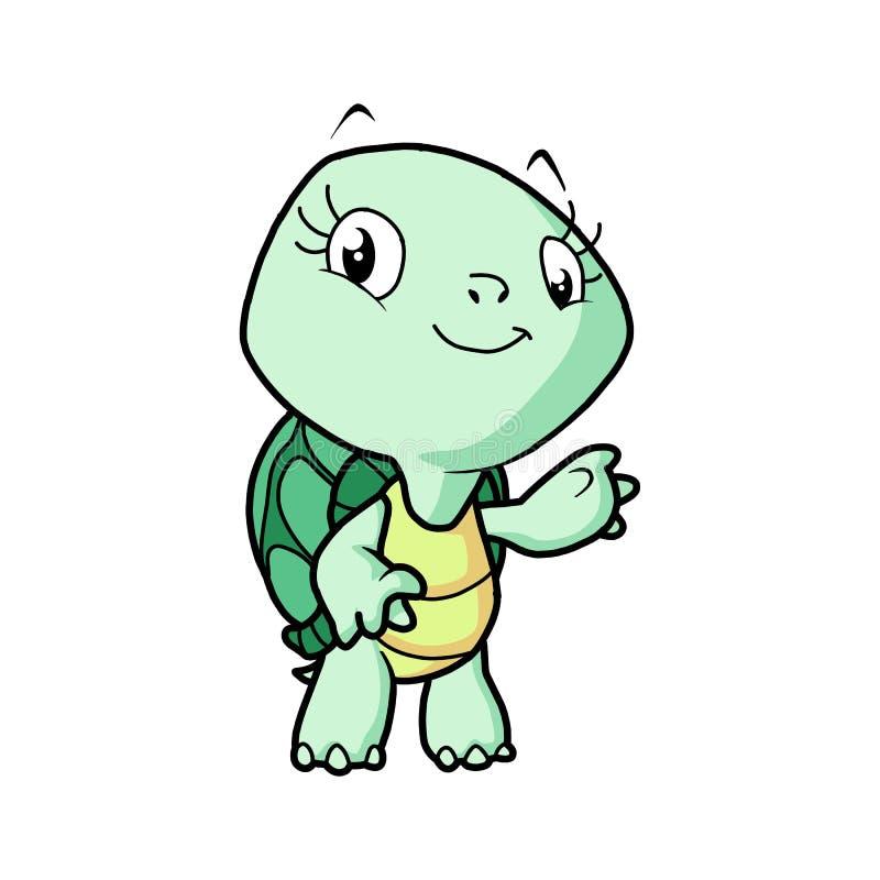 走与微笑,传染媒介动画片例证的愉快的逗人喜爱的乌龟 库存例证