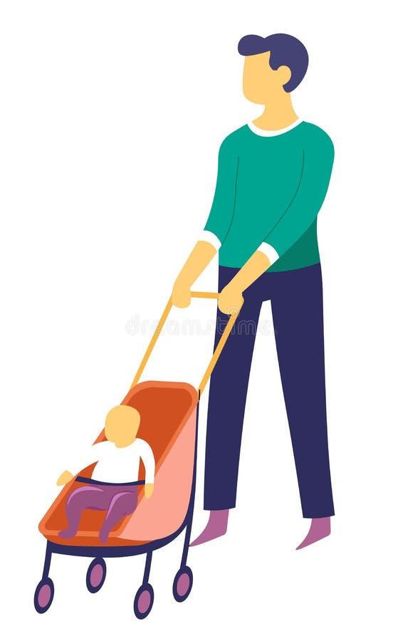 走与摇篮车父母和父权被隔绝的字符的婴孩的父亲 库存例证