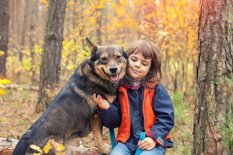 走与狗的小女孩 图库摄影