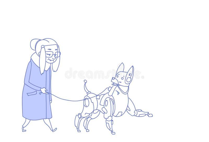 走与现代机器人狗人工智能宠物照管概念祖母夫人剪影乱画的资深妇女 皇族释放例证