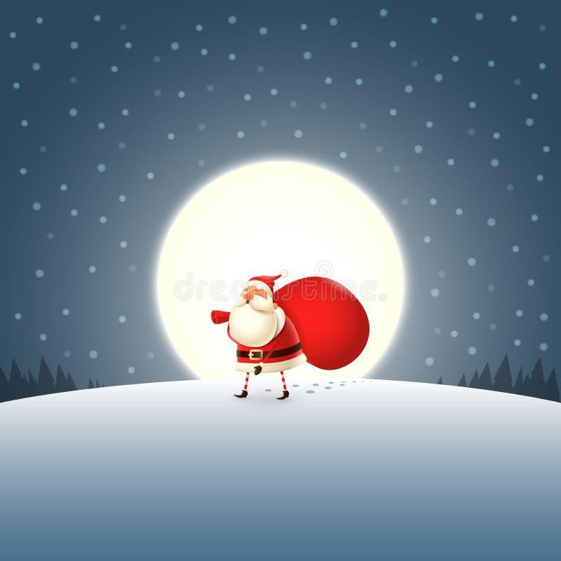 走与礼物的逗人喜爱的圣诞老人项目在深蓝月光风景请求 皇族释放例证