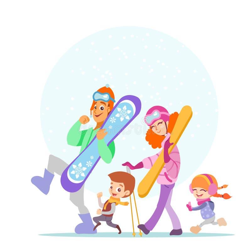 走与雪板和滑雪一起的滑稽的家庭 向量例证
