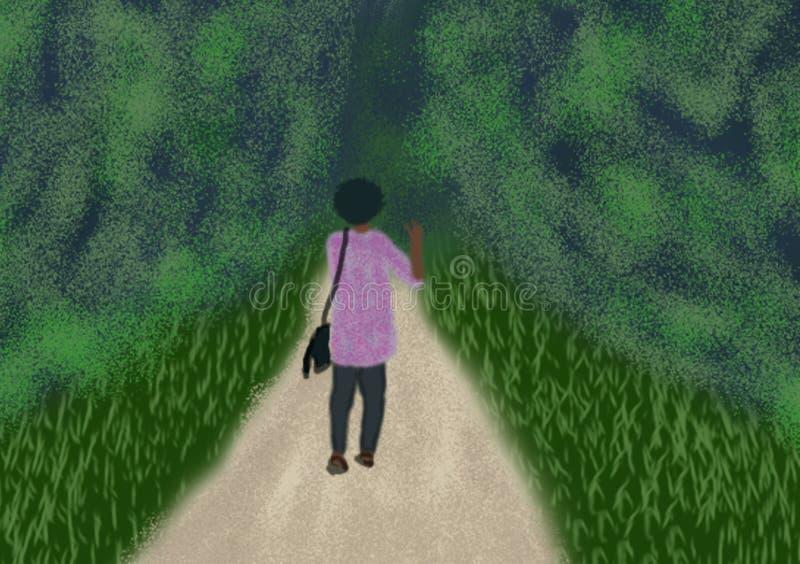走入森林的人数字式绘画 库存例证