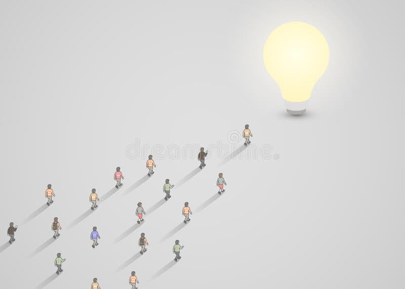 走到一个电灯泡的一群人 突发的灵感,启发,想法企业概念 皇族释放例证