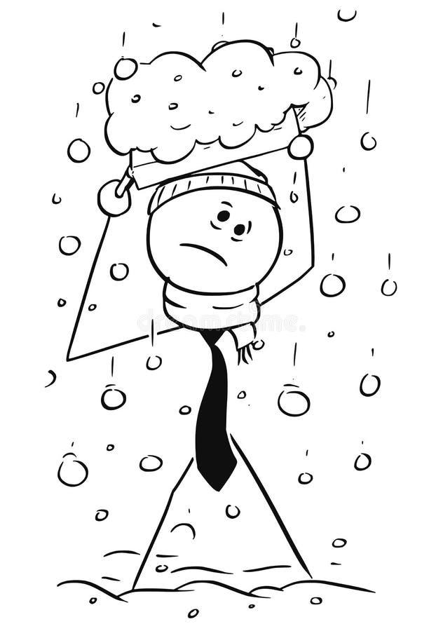走到办公室的冷的商人在大雪下雪期间 皇族释放例证