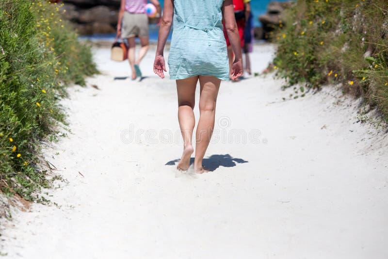 走到海滩的人们 库存图片