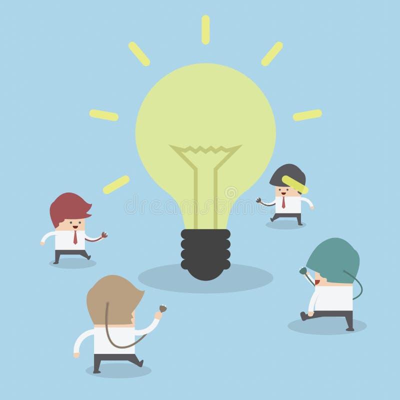 走到电灯泡的商人有想法,想法概念 向量例证