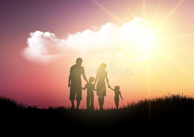 走反对日落天空的家庭的剪影 库存例证