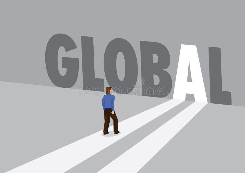 走向有全球性的文本的一条轻的道路的商人 全球性行销、促进或者挑战的企业概念 库存例证