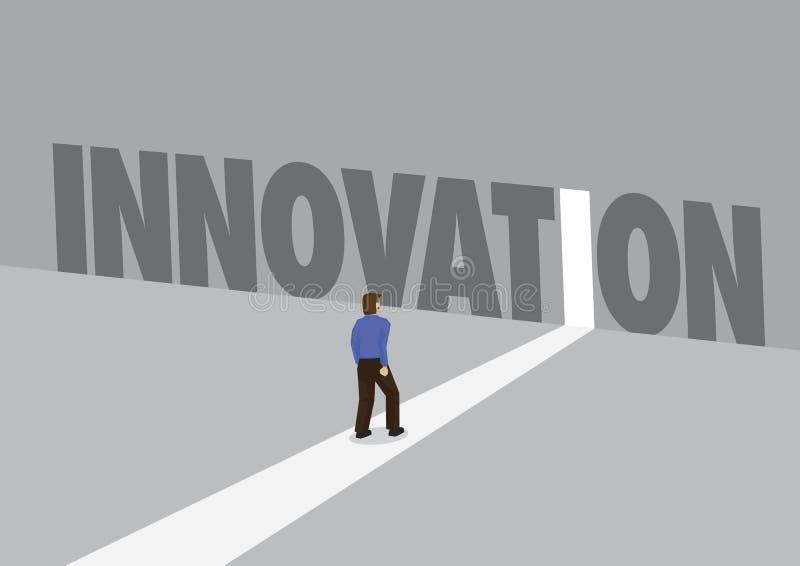 走向有文本创新的一条轻的道路的商人 企业概念的企业中断,创新或者数字 库存例证