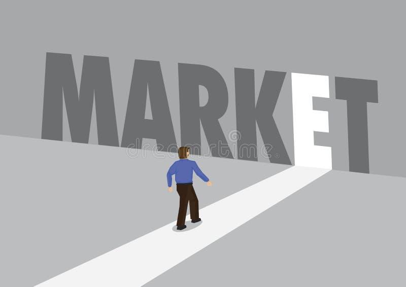 走向有文本市场的一条轻的道路的商人 行销、促进或者挑战的企业概念 向量 向量例证
