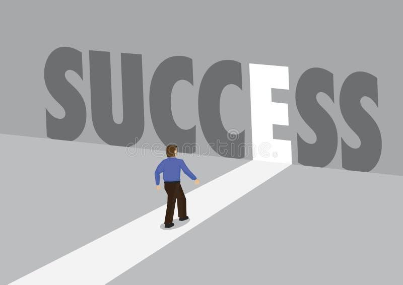 走向有文本成功的一条轻的道路的商人 企业成功,创新或者克服的企业概念 向量例证