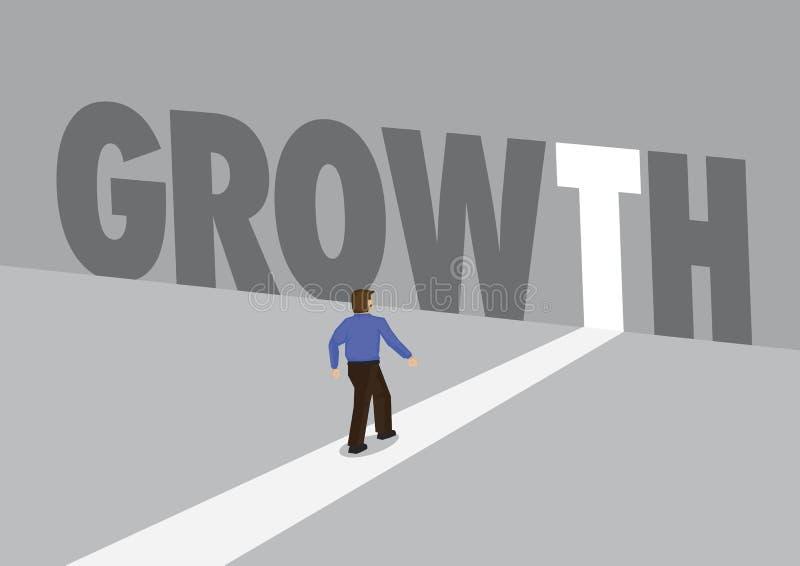 走向有文本成长的一条轻的道路的商人 行销、促进或者挑战的企业概念 向量 皇族释放例证