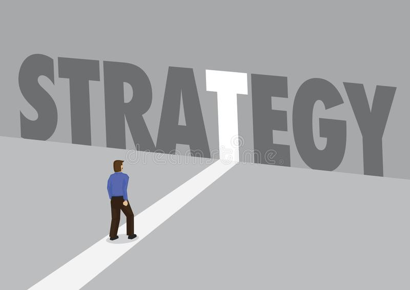 走向有文本战略的一条轻的道路的商人 计划、创新或者中断的企业概念 向量 向量例证