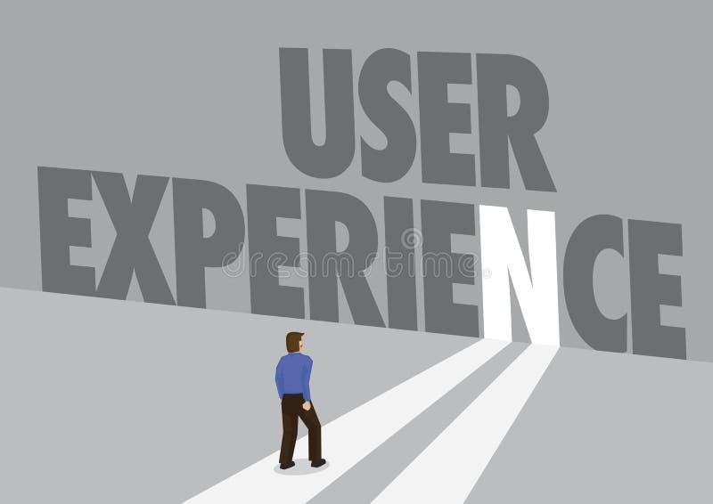走向有文本用户经验的一条轻的道路的商人 创新,顾客经验的企业概念或 皇族释放例证