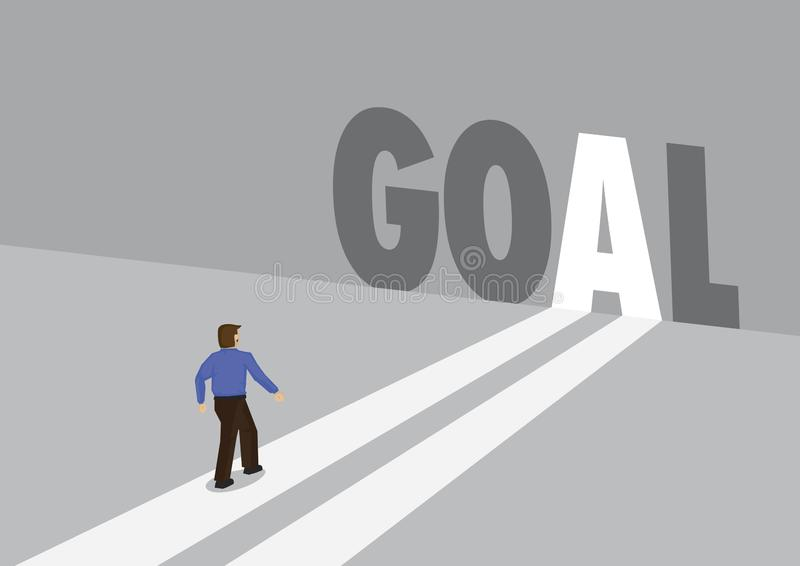 走向有文本目标的一条轻的道路的商人 公司目标设置,创新或者克服的企业概念 库存例证