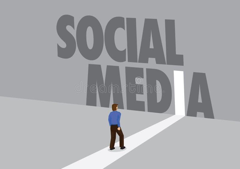 走向有文本社会媒介的一条轻的道路的商人 行销、促进或者挑战的企业概念 皇族释放例证