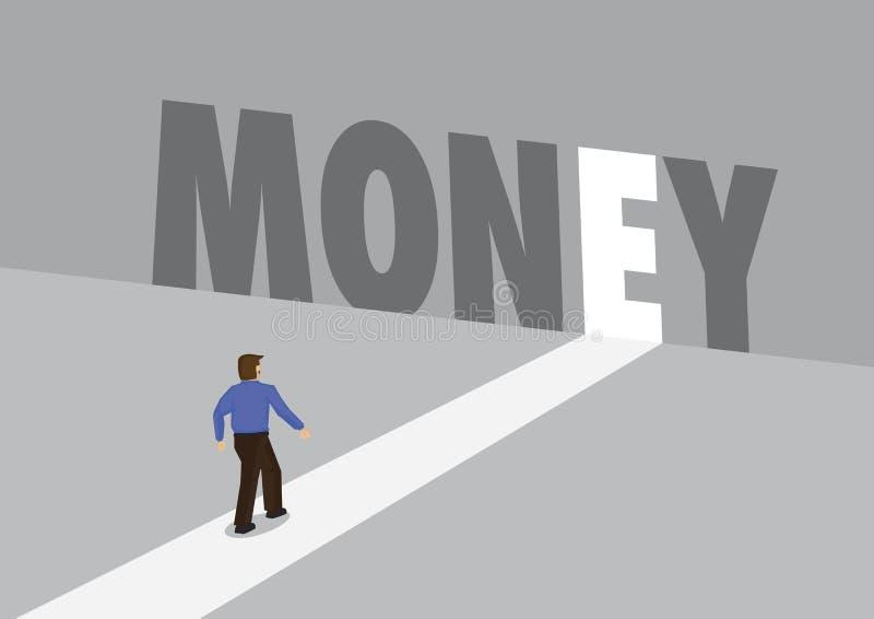走向有文本金钱的一条轻的道路的商人 赢利,财政或挑战的企业概念 向量 皇族释放例证