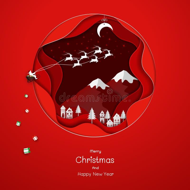 走向红色纸艺术背景的乡下的圣诞老人 库存例证
