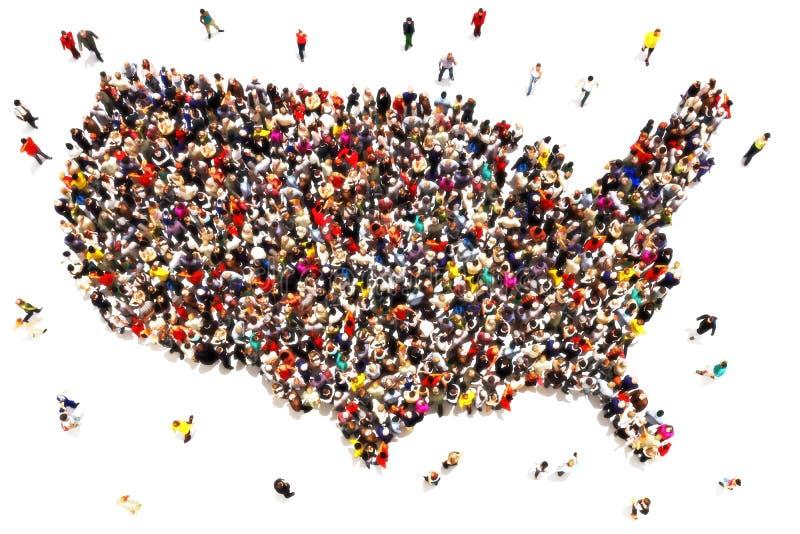 走向美国概念的人们 库存例证