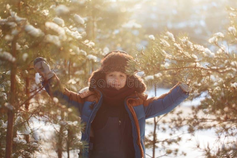 走在一个冬天森林里的愉快的孩子在晴天 免版税库存图片