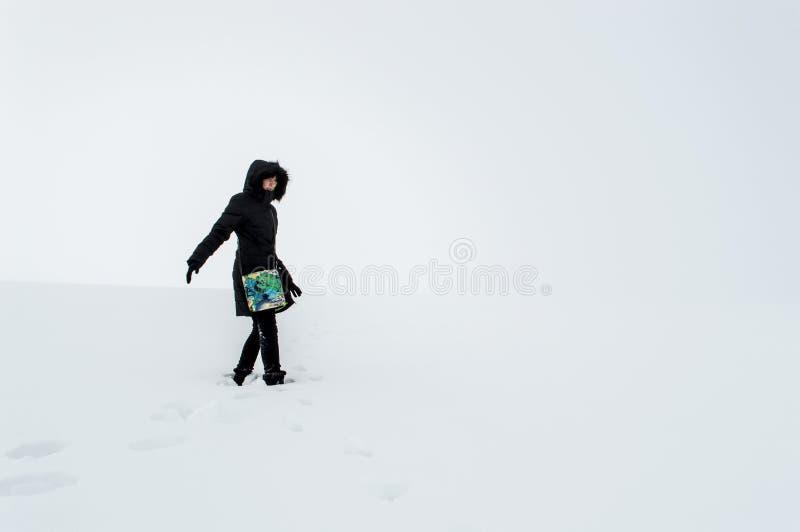 走在一个多雪的领域的妇女 免版税库存照片