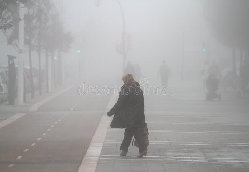 走在一有雾的天的剪影 免版税库存照片